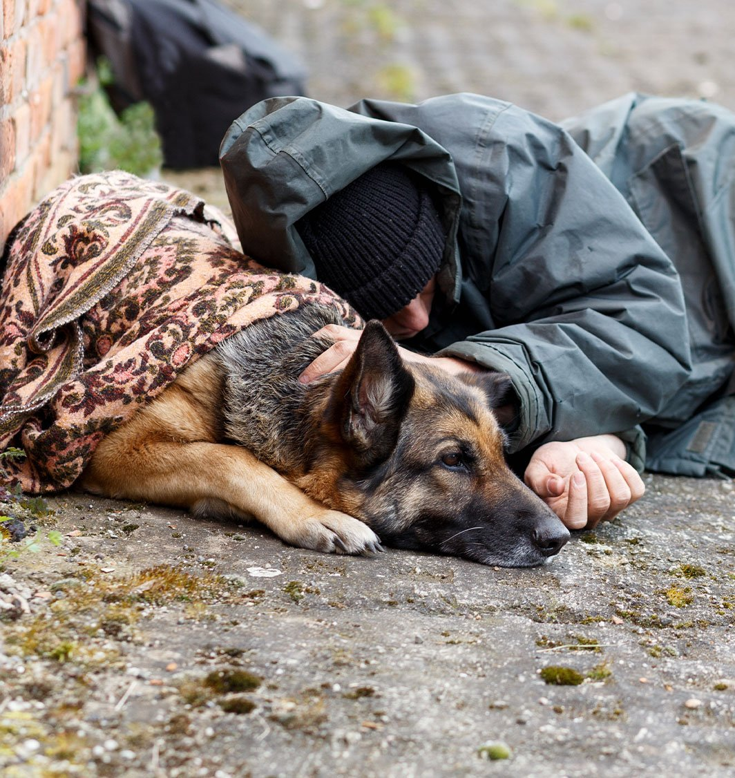 outreach program helps Man laying with his German Shepard Dog on Concrete