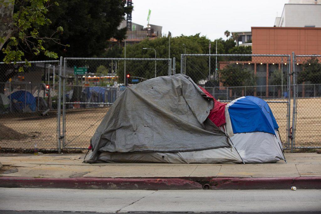 Homless Tent on Sidewalk